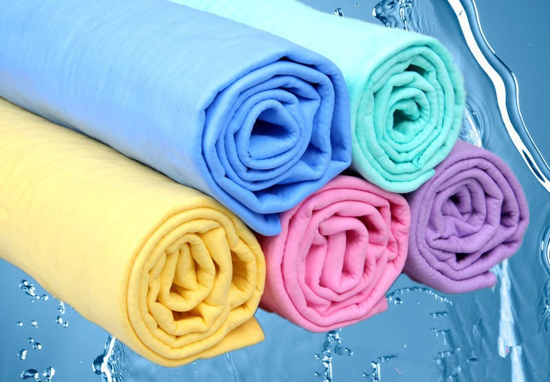 Car Cleaning Wash Towel Cham Synthetic Chamois Cloth Yellow 43*32*0.2 cm