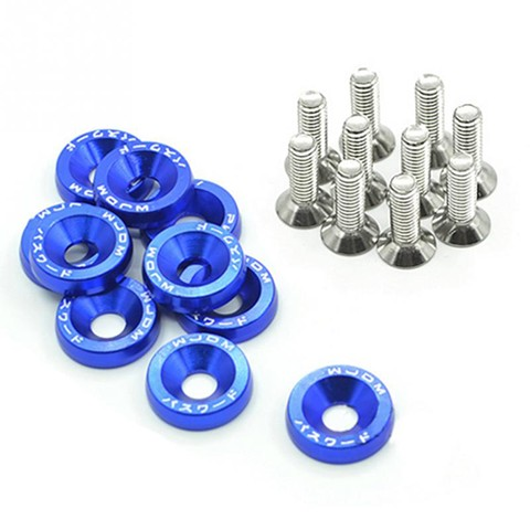 10Pcs Car Styling Universal Modification JDM Password Fender Washer - Blue