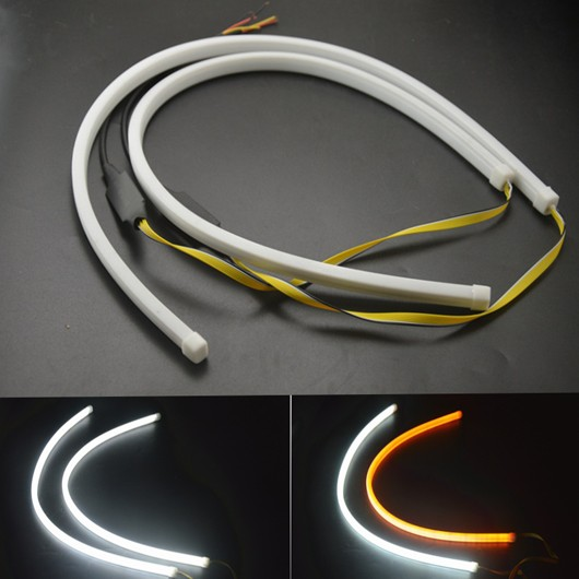 White Sequential Flow Strip LED Flexible DRL Headlight Turn Signal 60cm