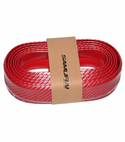 New Carbon fiber Rubber Soft bumper lip kit - Red
